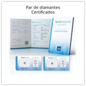 par de diamantes certificados